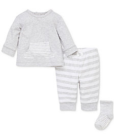 Little Me Baby Boys or Girls 3-Pc. Top, Jogger Pants & Socks Set