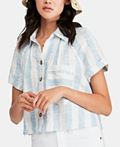 061eaf6e06b94 Free People Away At Sea Striped Frayed-Hem Shirt