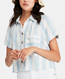 Free People Away At Sea Striped Frayed-Hem Shirt