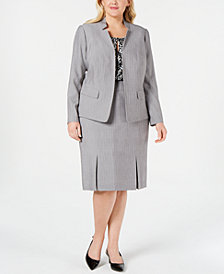 Kasper Plus Size Stand-Collar Blazer, Printed Shell & Pleated Skirt