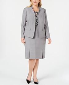 Kasper Plus Size Stand-Collar Blazer, Printed Shell & Pleated Skirt