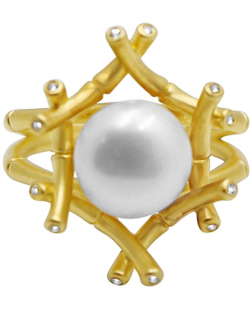 Kesi Jewels Freshwater Pearl (10mm) & Diamond and White Topaz Accent Ring in 18k Gold-Plated Sterling Silver