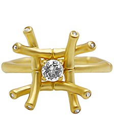 White Topaz (1/4 ct. t.w.) & Diamond Accent Ring in 18k Gold-Plated Sterling Silver