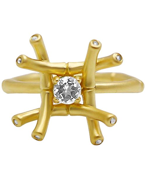 Kesi Jewels White Topaz (1/4 ct. t.w.) & Diamond Accent Ring in 18k Gold-Plated Sterling Silver