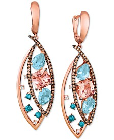 Le Vian® Multi-Gemstone (4-3/4 ct. t.w.) & Diamond (9/10 ct. t.w.) Marquise Drop Earrings in 14k Rose Gold