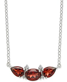 """Garnet (3-1/5 ct. t.w.) & Diamond Accent 18"""" Necklace in Sterling Silver"""