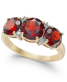 Garnet (3-1/2 ct. t.w.) & Diamond Accent Ring in 14k Gold