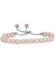 White Cultured Freshwater Pearl (6mm) & Crystals Bolo Bracelet in Sterling Silver