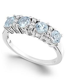 Aquamarine (1 ct. t.w.) & Diamond (1/10 ct. t.w.) Statement Ring in 14k White Gold