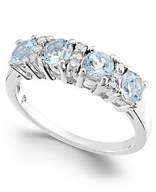 Aquamarine (1 ct. t.w.) & Diamond (1/10 ct. t.w.) Statement Ring in 14k White Gold