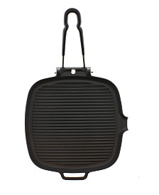 """Chasseur French Cast Iron 9"""" Square Grill With Folding Handle"""