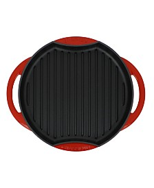 """Chasseur French Sun Enameled Cast Iron 10"""" Grill Pan"""