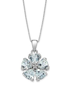 "Aquamarine (2-1/4 ct. t.w.) & Diamond Accent 18"" Pendant Necklace in 14k White Gold"