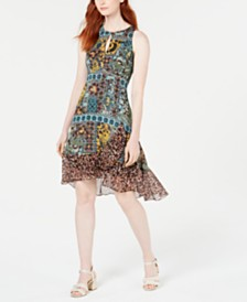 Nanette Lepore Multi-Print Chiffon-Hem Dress, Created for Macy's