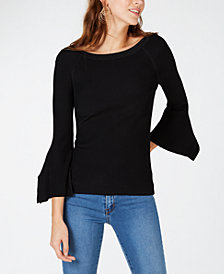 I.N.C. Petite Flutter-Sleeve Sweater, Created for Macy's