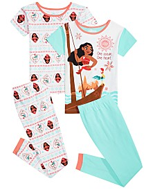 AME Little & Big Girls 4-Pc. Moana Cotton Pajama Set