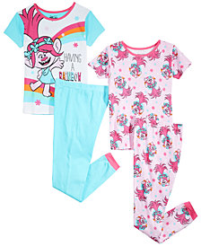 Trolls by DreamWorks Little & Big Girls 4-Pc. DreamWorks Trolls Cotton Pajama Set