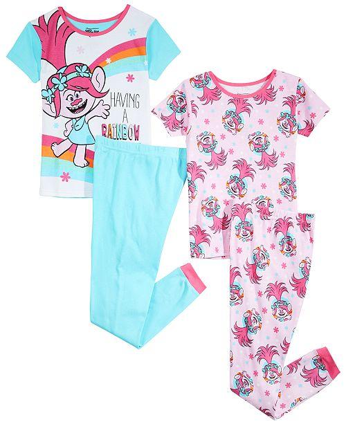 My Little Pony Trolls by DreamWorks Little & Big Girls 4-Pc. DreamWorks Trolls Cotton Pajama Set