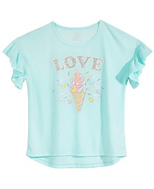 Max & Olivia Big Girls Ruffle-Sleeve Pajama Top, Created for Macy's