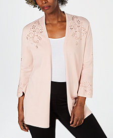 JM Collection Petite Studded Open-Front Cardigan, Created for Macy's