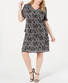 Connected Plus Size Tiered A-Line Dress