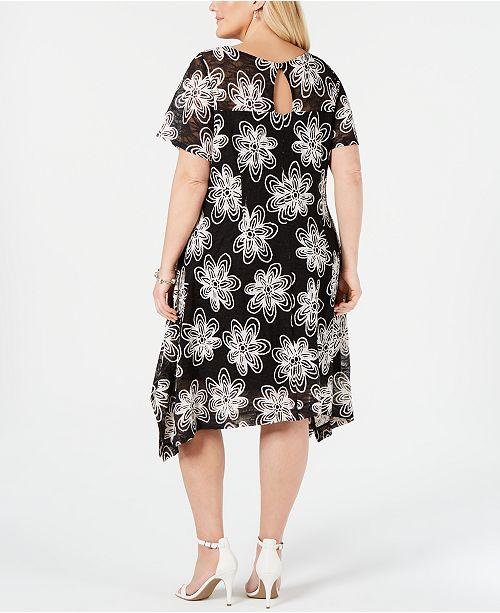 2615e6c7916 ... Robbie Bee Plus Size Embroidered Lace Handkerchief-Hem Dress ...