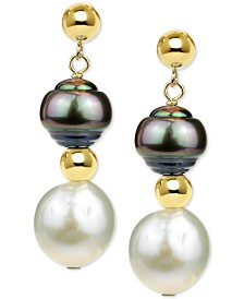 Cultured Baroque Freshwater Pearl (11-12mm) and Tahitian Pearl (8-9mm) Drop Earrings in 14k Gold