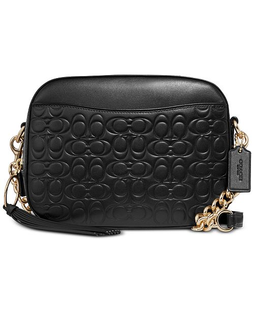 COACH Camera Bag in Signature Embossed Leather