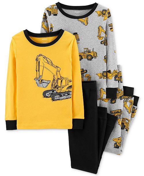 Carter's Little Boys 4-Pc. Construction-Print Cotton Pajamas Set