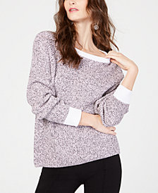 I.N.C. Petite Cotton Marled Pullover Sweater, Created for Macy's