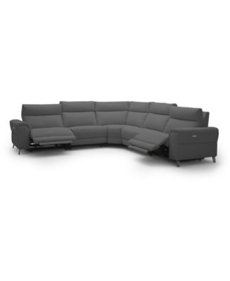 "Raymere 122"" 5-Pc. Fabric Sectional Sofa with 2 Power Motion & Power Headrests"