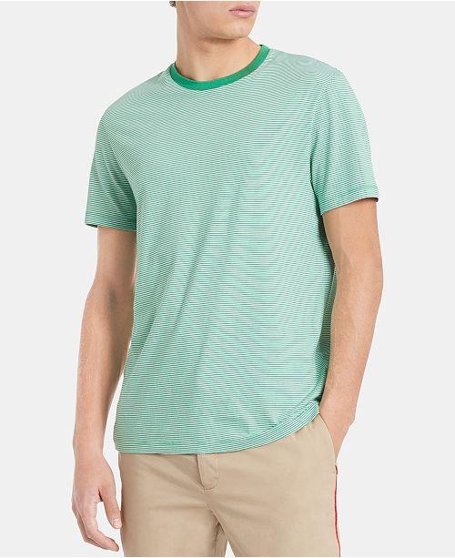 c608f6cf6879 Calvin Klein Men's Feeder Striped Pima Cotton T-Shirt & Reviews - T ...