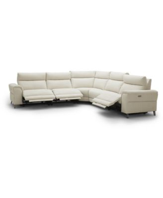 """CLOSEOUT! Raymere 122"""" 5-Pc. Fabric Sectional Sofa with 3 Power Motion & Power Headrests"""