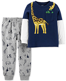 Carter's Baby Boys 2-Pc. Animal-Print T-Shirt & Jogger Pants Set