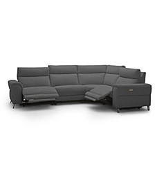 "Raymere 122"" 4-Pc. Fabric Sectional Sofa with 2 Power Motion & Power Headrests"