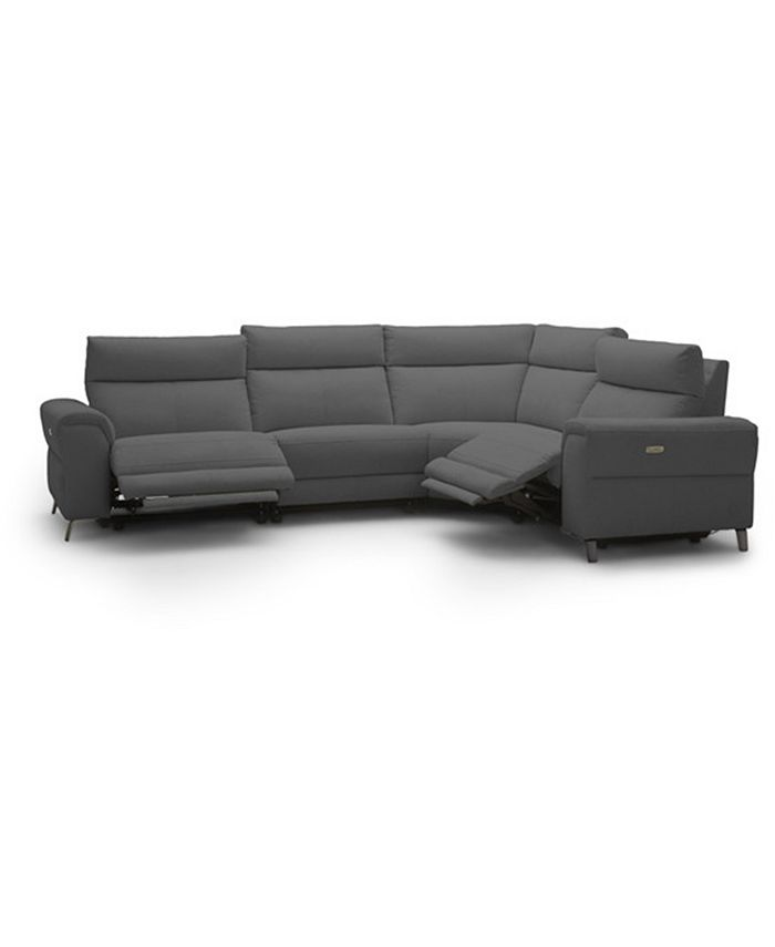 """Furniture - Raymere 122"""" 4-Pc. Fabric Sectional with 2 Power Motion & Power Headrests"""