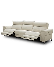 """CLOSEOUT! Raymere 119"""" 3-Pc. Fabric Sofa with 2 Power Motion & Power Headrests"""