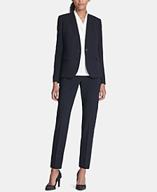 Collarless One-Button Blazer & Ankle Pants