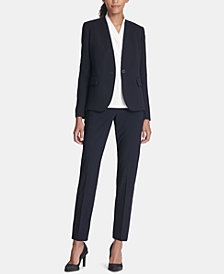 DKNY Collarless One-Button Blazer & Ankle Pants, Created for Macy's