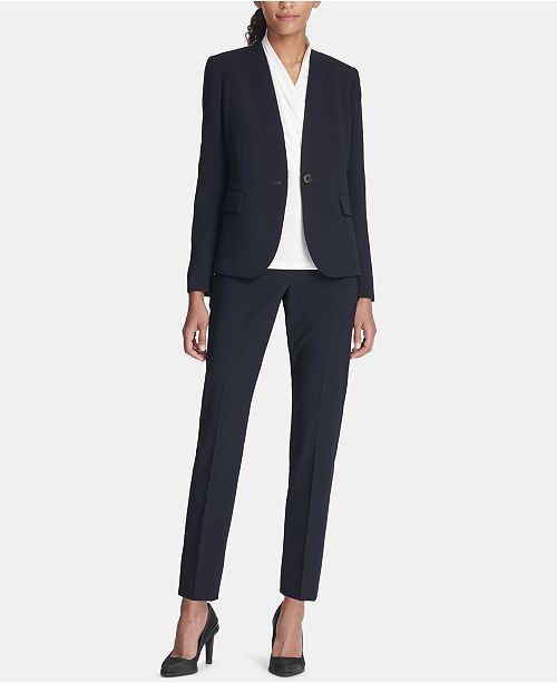 DKNY Collarless One-Button Blazer & Ankle Pants