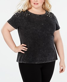 I.N.C. Plus Size Imitation-Pearl Shoulder-Detail T-Shirt, Created for Macy's