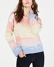 I.N.C. Petite Intarsia Bell-Sleeve Pullover Sweater, Created for Macy's