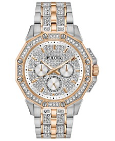 Bulova Men's Chronograph Phantom Two-Tone Stainless Steel & Crystal Accent Bracelet Watch 41.5mm