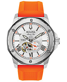 Bulova Men's Automatic Marine Star Orange Silicone Strap Watch 45mm