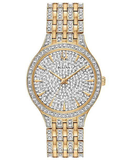 Bulova Women's Phantom Gold-Tone Crystal-Accent Stainless Steel Bracelet Watch 32mm