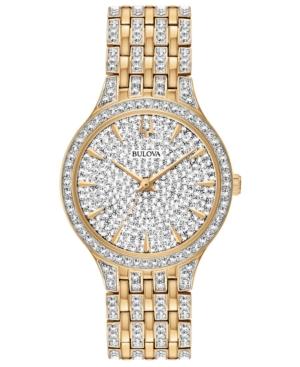 Bulova Watches WOMEN'S PHANTOM GOLD-TONE CRYSTAL-ACCENT STAINLESS STEEL BRACELET WATCH 32MM