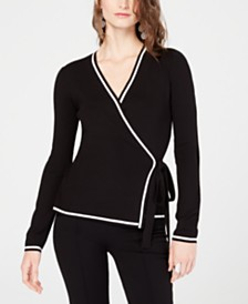 I.N.C. Contrast-Trim Wrap Sweater, Created for Macy's