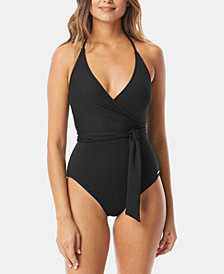 Vince Camuto V-Neck Wrap-Tie One-Piece Swimsuit