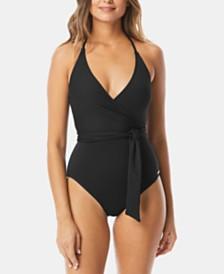 c7e4e8f904b Vince Camuto V-Neck Wrap-Tie One-Piece Swimsuit & Reviews - Swimwear ...