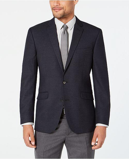 Kenneth Cole Reaction Men's Slim-Fit Stretch Dark Gray Dot Sport Coat